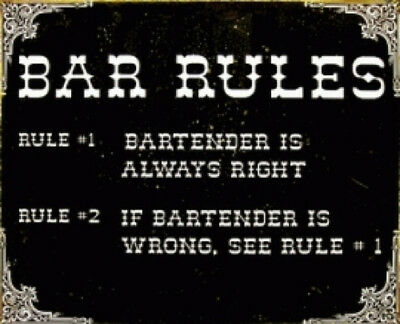 Bar Rules Bartender  Metal Tin Sign 10042  Large Variety-Post Discounts Mancave
