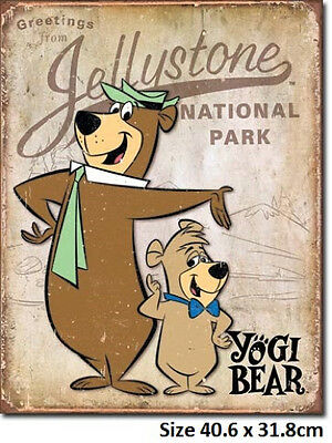 Yogi Bear & Boo Boo Licensed Metal Tin Sign 1875   Made In USA