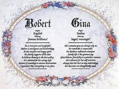 """Victorian"" Double Name Meaning Print Personalized (Love, Romance, Marriage)"