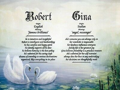 """Swans"" Double Name Meaning Print Personalized (Love, Romance, Marriage)"