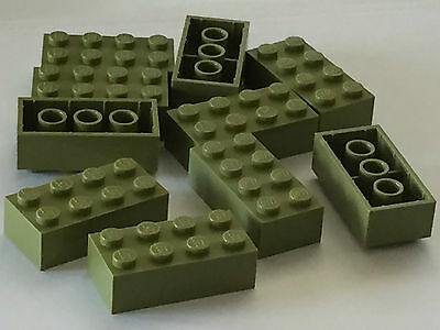 Lot of 10 3001 4260493/_LEGO Brick 2x4 /_Earth Green