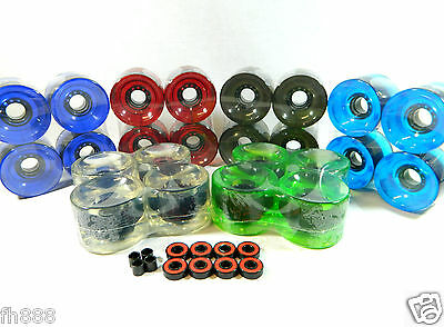 Blank 70mm Longboard Cruiser Multi Clear Color Wheels + ABEC 7 Bearing + Spacers