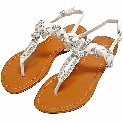 New women's shoes sandals t strap rhinestone details casual party summer white