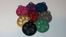 Engraved Round Large Paw Tag,