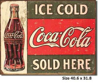 Coca Cola Ice Cold Sold Here RUSTIC Metal Tin Sign 1299 Made in USA Licensed