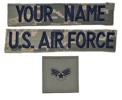 CUSTOM 3 Piece ABU Name Tape Rank Set w/ Fastener - U.S. Air Force USAF Military