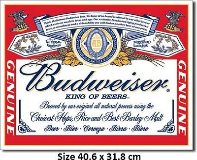 Budweiser Beer Label 979 Tin Sign Made in USA - Huge Selection In My Ebay Store