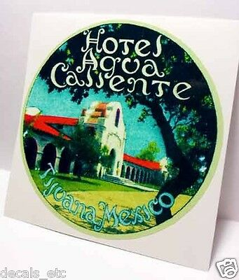Hotel Agua Caliente Tijuana Mexico Vintage Style Travel Decal / Vinyl Sticker