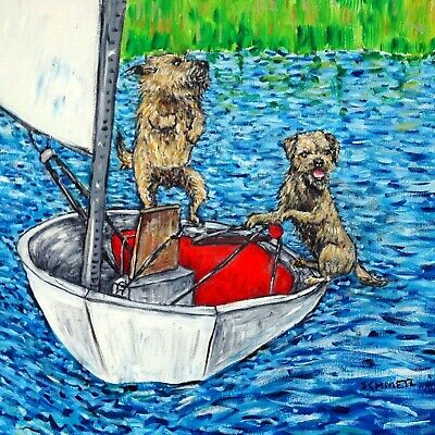 border terrier sailing boating dog art tile coaster gift