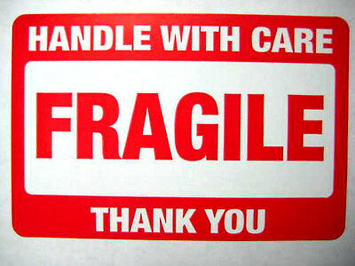 500 2 x 3 Fragile Handle with Care Label Sticker.Plus 15 yellow smiley labels