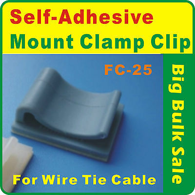 100 x Self-Adhesive Wire Tie Cable Mount Clamp Clip FC25