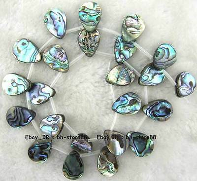 13x18mm Teardrop Sidehole Natural Abalone Shell Loose Beads 15''