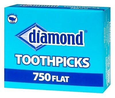 """Diamond TOOTHPICKS MADE in USA 750 count Flat Wood 2.5"""" No Additive Birch wooden"""