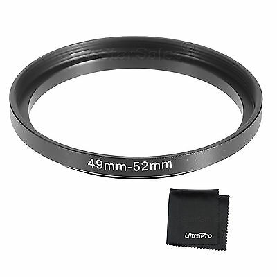 49-52mm Step-Up SLR Lens Metal Adapter Ring with UltraPro Microfiber Cloth