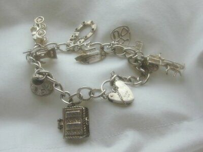 SUPERB LADIES HEAVY EARLY VINTAGE SOLID SILVER CHARM BRACELET ( OPENING BIBLE )