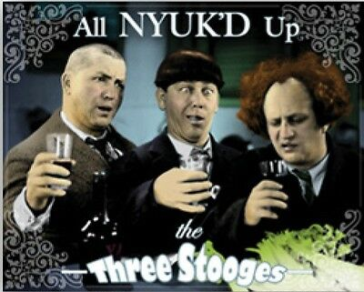 Three Stooges All NYUK'D Up Tin Sign 98417  Post 2-12 signs $15 flat rate.