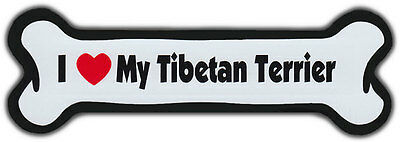 Dog Bone Magnet: I Love My Tibetan Terrier | For Cars, Refrigerators, More