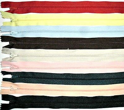 "Zips 14"" 36Cm, Closed End Nylon, X5, Various Colours Available, Free P&P"
