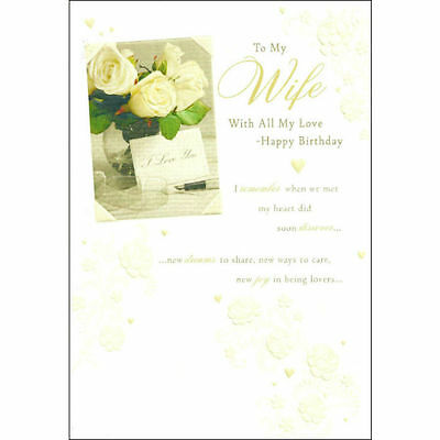 Words 'N' Wishes To My Wife With All My Love Happy Birthday Floral Card - M001