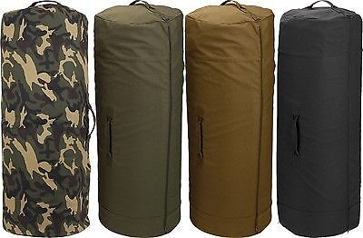 Side Zipper Military Duffel Bag - Heavy Duty Cotton Canvas