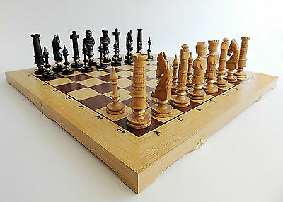 BRAND NEW HAND CARVED ROYAL OAK  WOODEN CHESS SET 62x62cm