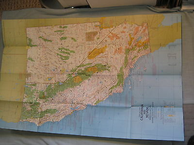 VINTAGE CALIFORNIA & NEVADA MAP CLOSE-UP USA National Geographic June 1974 MINT
