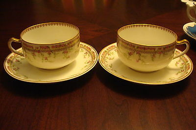 Limoges, Haviland France, Malmaison pattern, 2 cups and saucers[60]