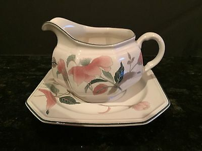 """MIKASA """"SILK FLOWERS"""" GRAVY BOAT with UNDERPLATE ~ F3003 ~ PICK-UP or  POST"""