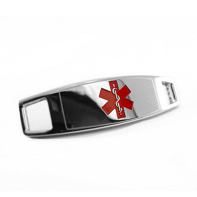 Engraved FREE, Steel Medical ID Plate Tag, Attach to Beaded Bracelet, RED - i4