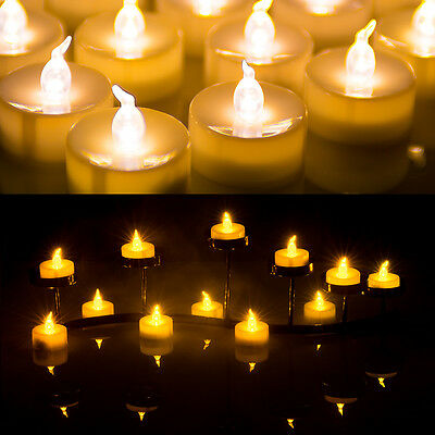24X LED Amber Yellow Battery Tea Light Party Wedding Flameless Candle with Timer