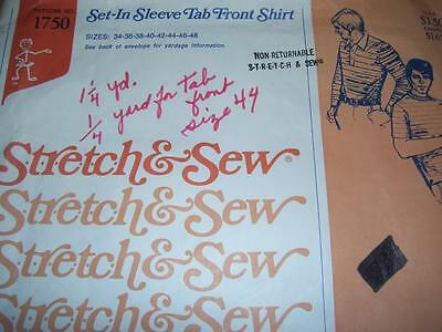 1974 STRETCH & SEW #1750-MENS (2 STYLE) SUMMER or WINTER SHIRT PATTERN  34-48 uc
