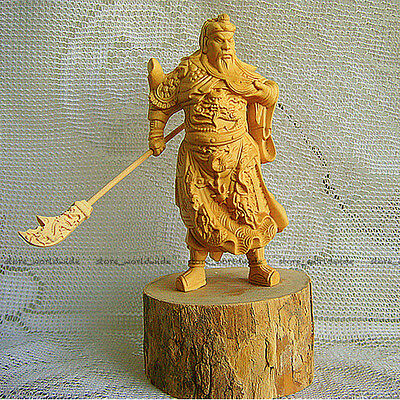 Wooden Guan Yu Boxwood Carved Warrior Guan Gong Statue