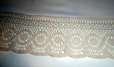 "Beautiful 2-3/4"" wide ecru cotton lace - over 8 yards-excellent unused condition"