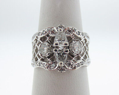 Vintage Estate Genuine Diamonds Solid 14k White Gold Ring 14mm Band