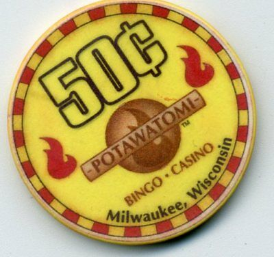 Potawatomi  50 Cent  Wi.obs. Casino Chip  Milwaukee Wisconsin