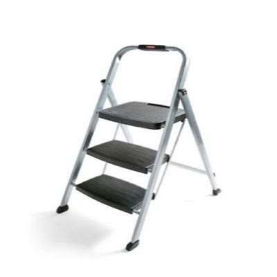 Wondrous Rubbermaid 3 Step Steel Stool Folding Compact Ladder Home Caraccident5 Cool Chair Designs And Ideas Caraccident5Info