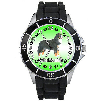 Swiss Mountain Dog Mens Ladies Unisex Black Silicone Strap Wrist Watch S633E