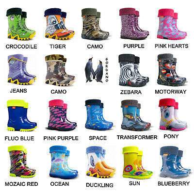 Kids Boys Girls Wellies Wellington Boots Rainy Boots Snow Boots Size 4 - 2 UK