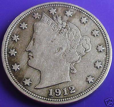 1912 S LIBERTY NICKEL VF KEY DATE FREE SHIPPING   T17
