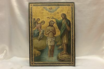 Antique Original Perfect Greek Hand Painted Big Icon • CAD $2,331.00