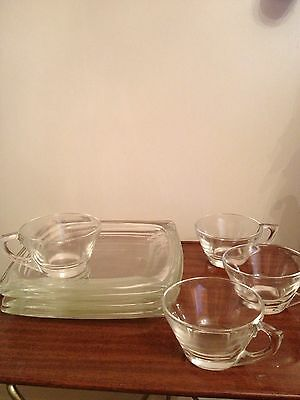 """4 Sets Clear Colony Square 8"""" Snack Plates and Cups by Hazel Atlas"""