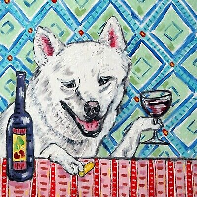 SHIBA INU dog art ceramic tile COASTER gift JSCHMETZ modern folk art wine