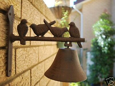 Vintage Rustic Cast Iron Four Bird Door Garden Bell 032013