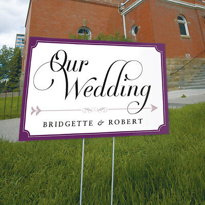 Personalized Custom Expressions Wedding Reception Ceremony Directional Lawn Sign