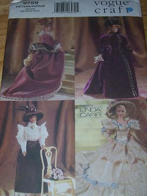 """VOGUE #9759 - 11½"""" FASHION DOLL-HISTORICAL PERIOD GOWNS-SKIRT & BLOUSE PATTERNuc"""