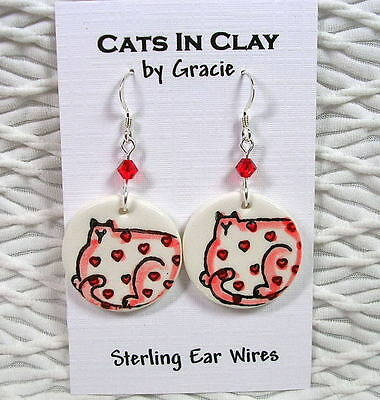 Cat with Red Hearts Round Clay French Wire Earrings Sterling Earwires GMS Dangle