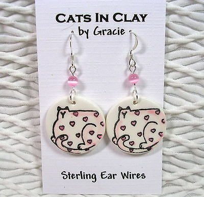 Pink Cat with Hearts Round Clay French Wire Earrings Sterling Earwires GMS