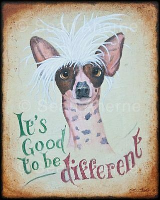 Chinese Crested Dog Wooden Shabby Chic Sign Print Picture Art for Dog Lovers