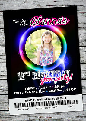 GLOW Birthday Party Invitation NEON Bracelet Neclace in the Dark w/ Photo 5x7