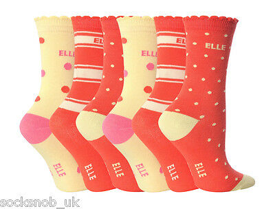 6 Pair Pack Girls Young Elle Cotton Ankle Socks, Various Colours SALE
